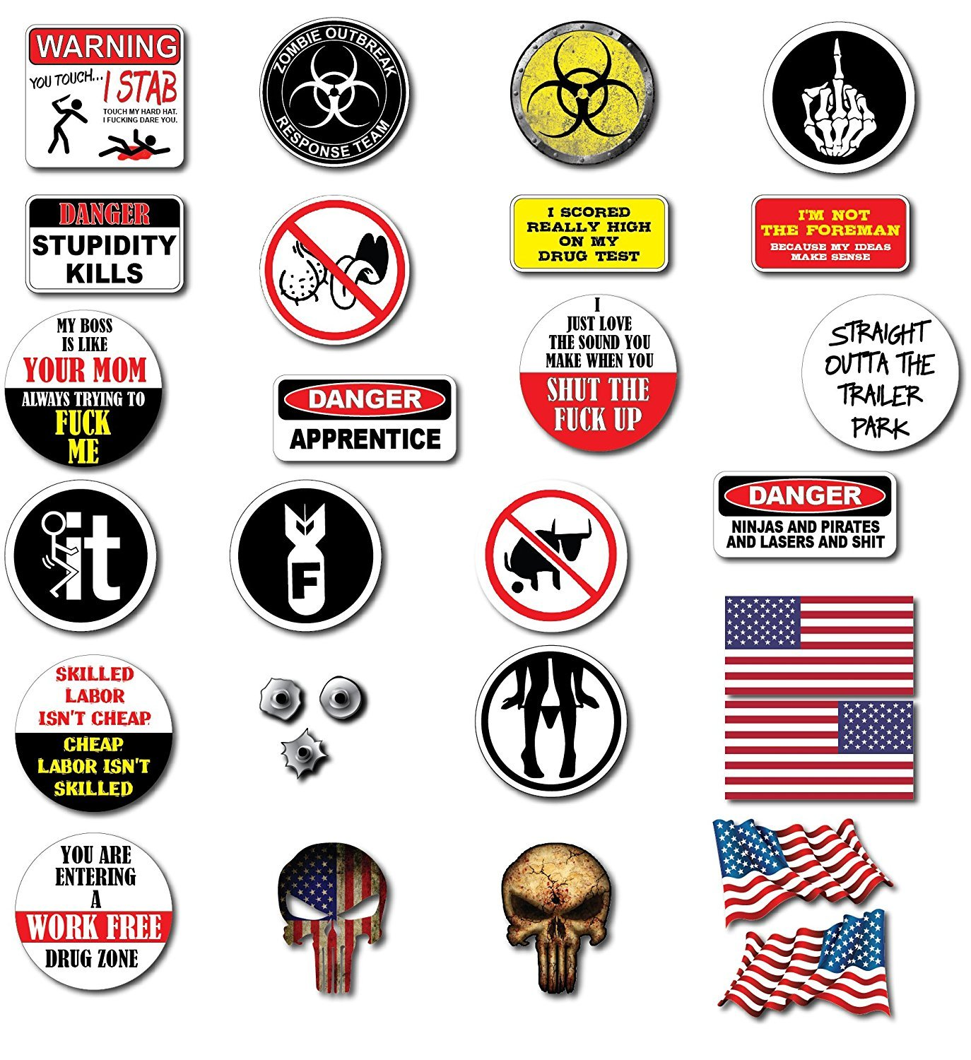 1 SET XXL UNION BEST OF (28pcs) Hard Hat, Tool Box Stickers | 100% PVC ! Funny decals for Construction, Electrician, Union, OSHA, Oilfield, Military, Fire Crew, Mechanics | Display your American Flag! by Linni's Vinyl Banners (Image #1)