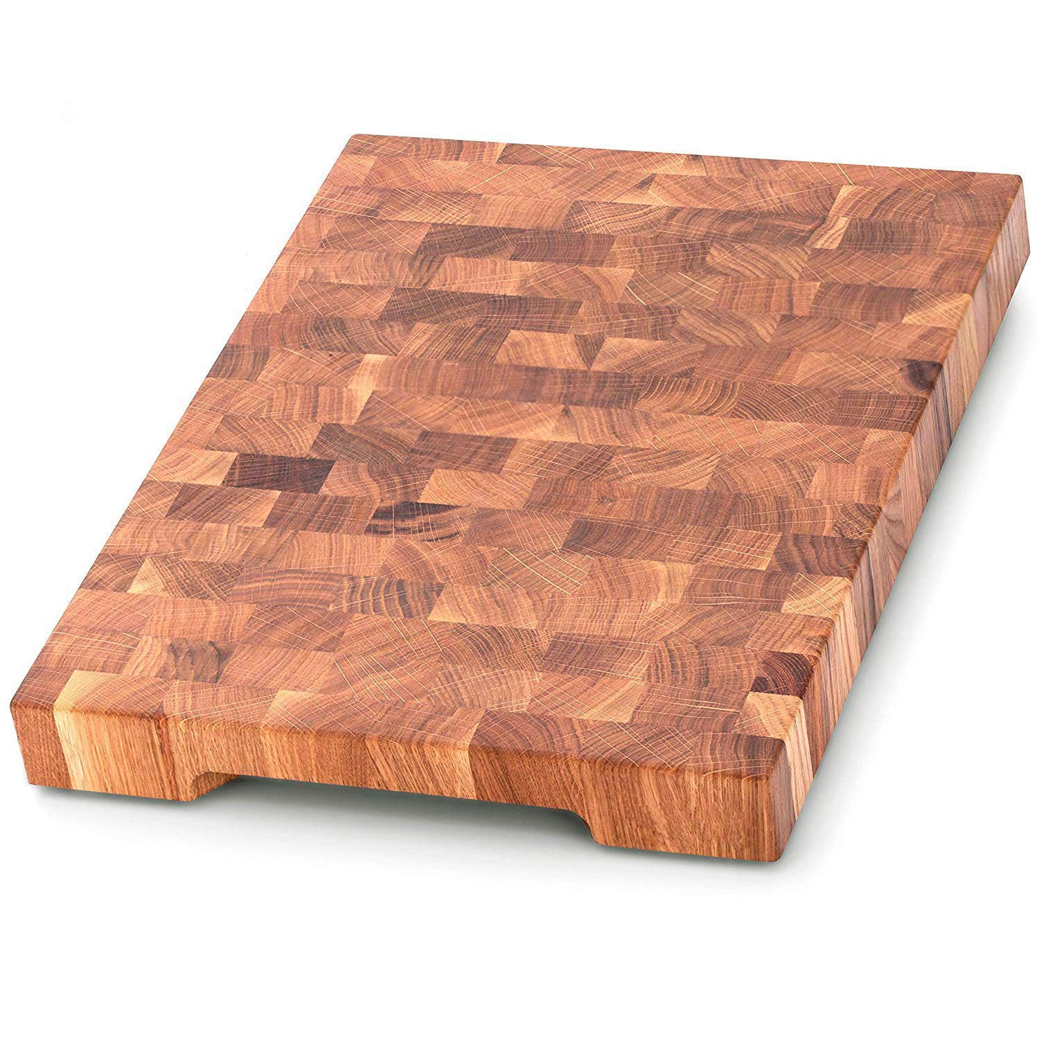 End Grain Wood cutting board - Wood Chopping block - Large cutting board 16 x 12 Kitchen butcher block Antibacterial Oak cutting board non slip cutting board with feet - Kitchen Wooden chopping board