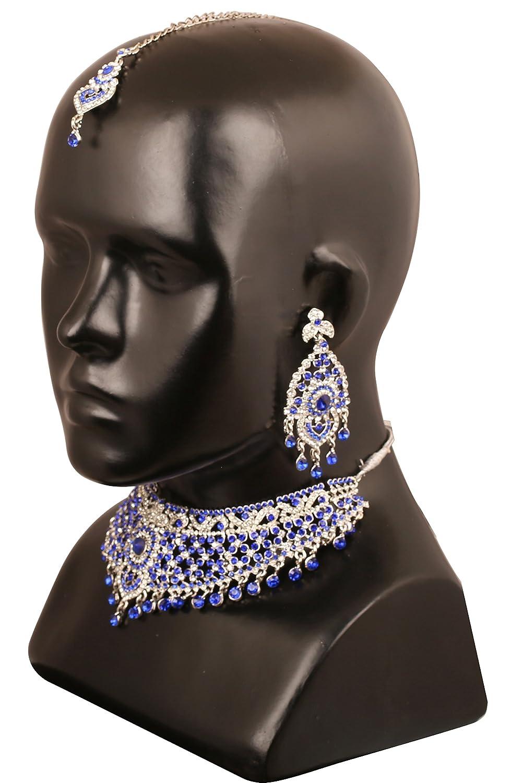 Touchstone Bollywood indien magistralement cr/é/é strass mousseux grand collier de bijoux de mari/ée ensemble pour femme