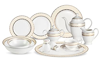 Lorenzo 57 Piece Elegant Bone China Service for 8 Margaret Dinnerware Sets Gold  sc 1 st  Amazon.com & Amazon.com | Lorenzo 57 Piece Elegant Bone China Service for 8 ...
