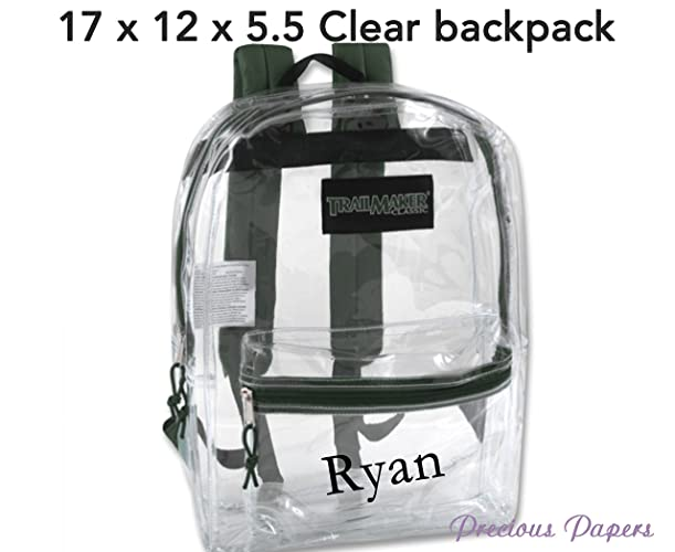 Personalized monogrammed clear backpack with green trim. See through back  pack 06d1c6ae584c1