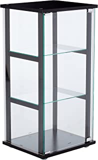 3 shelf glass curio cabinet black and clear - Ikea Glass Display Case