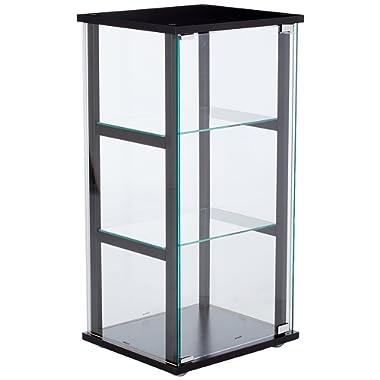 3-Shelf Glass Curio Cabinet Black and Clear