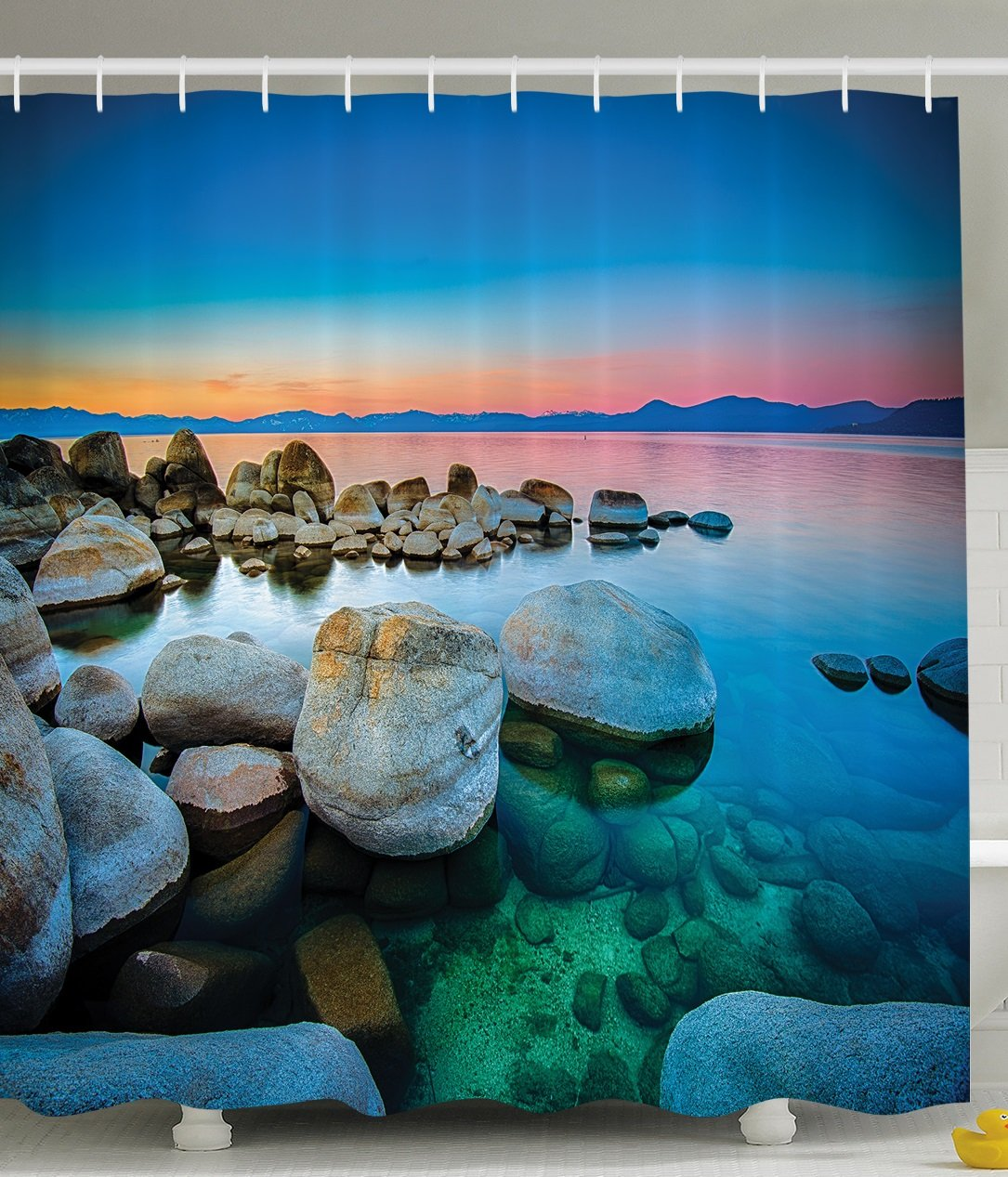 Ambesonne Lake Tahoe California America Decor Collection, Vibrant Seascape Beach Stones Sunset View Water Reflection, Polyester Fabric Bathroom Shower Curtain Set with Hooks, Blue Orange Green