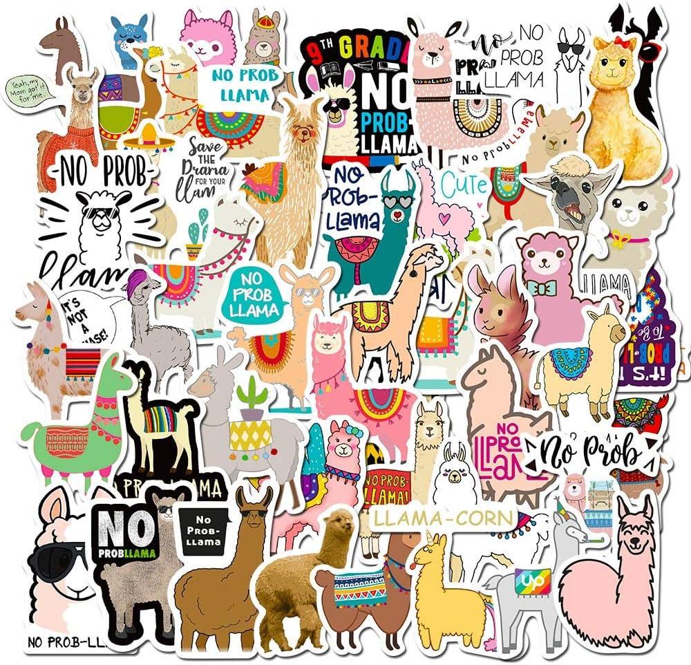 JZLMF Pegatinas de Animales Pegatinas Bonitas Alpaca Hierba Barro Caballo Graffiti Pegatinas Maleta Pegatinas para Ordenador portátil 50 Uds