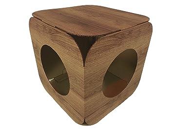 Casa/cama de cartón para gato. Diseño efecto madera.: Amazon ...