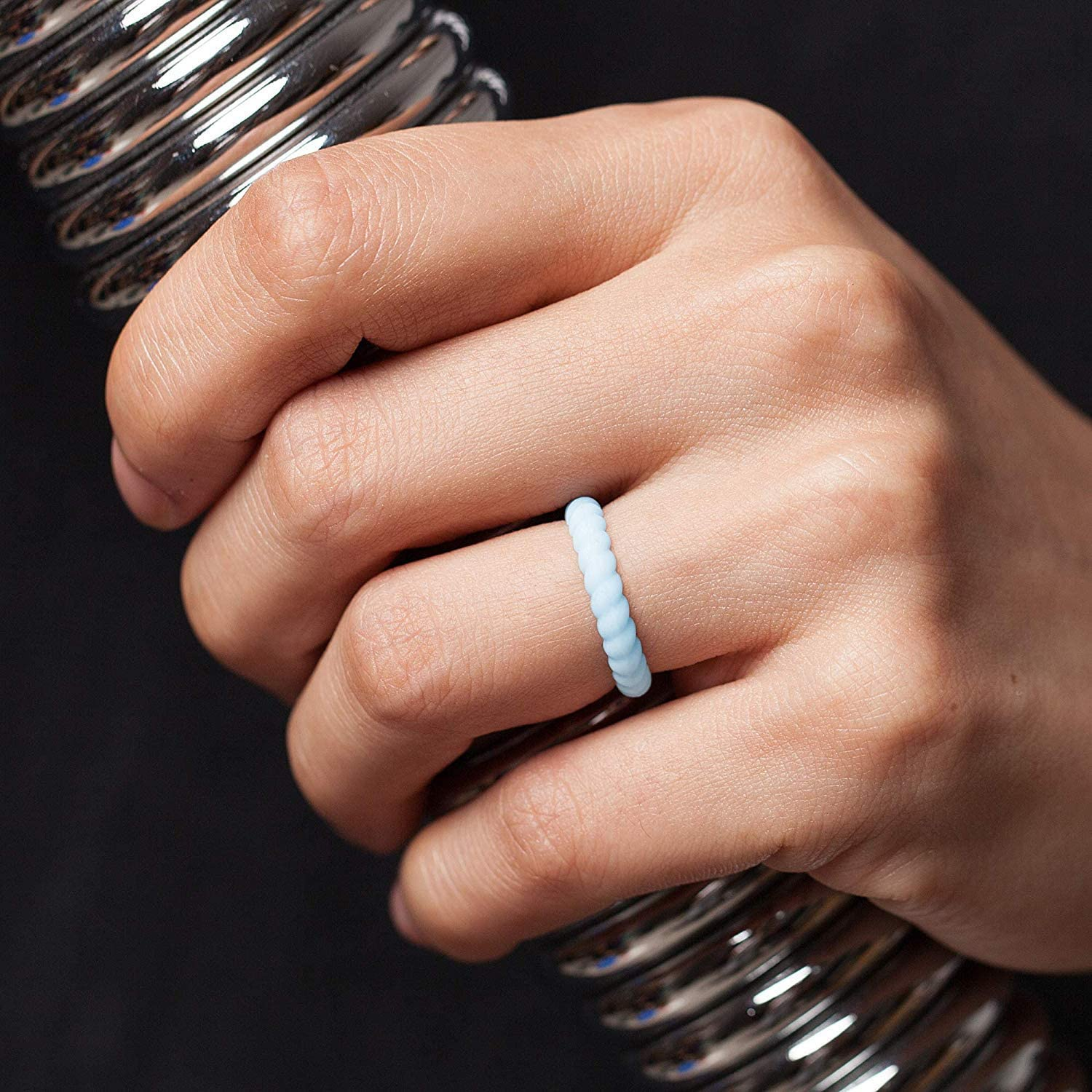 2mm Thick 10 Rings // 8 Rings // 4 Rings // 1 Ring Stackable Silicone Wedding Rings ThunderFit Womens Thin Swivel Rings 2.5mm Wide
