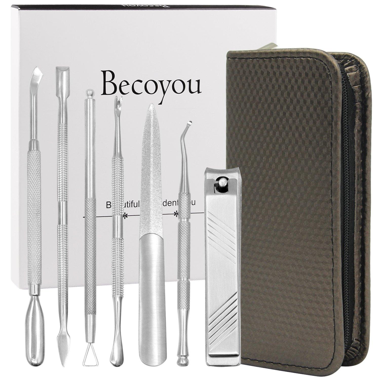 Becoyou, Set di strumenti per manicure in acciaio inossidabile, 6 pezzi eFun