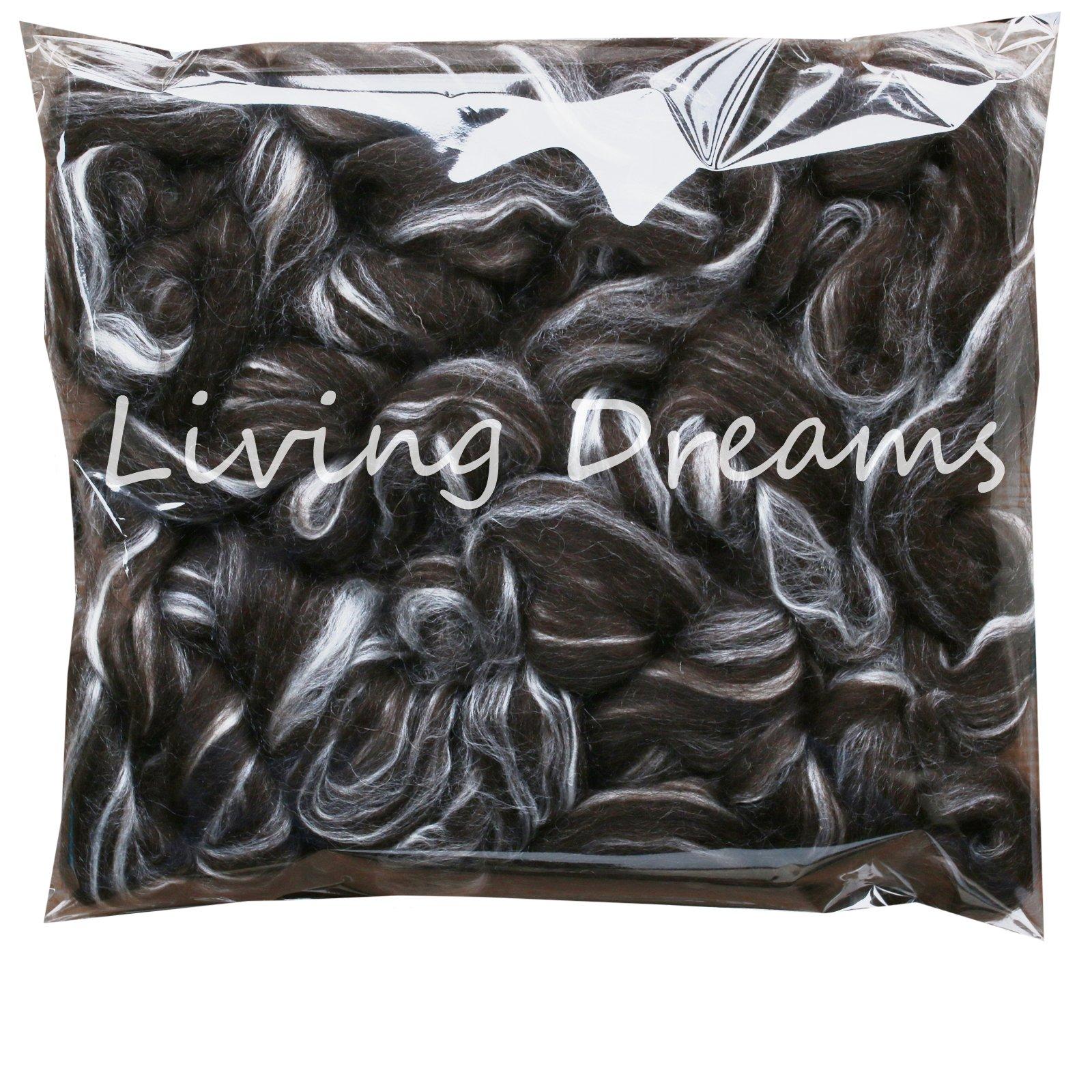 Shetland Wool TUSSAH Silk Combed Top Roving for Spinning, Felting, Blending. Soft & Lofty Fiber Blend, Natural Black
