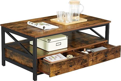 WINHOME Rustic Coffee Table