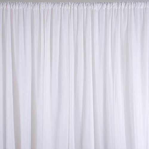 BalsaCircle 20 ft x 10 ft White Chiffon Fabric Backdrop Drapes Curtain – Wedding Decorations Photo Booth Reception Photography Party Supplies
