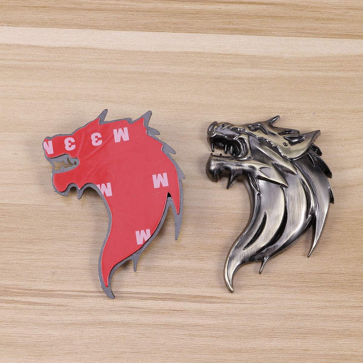 Vosarea 2pcs 3D adesivi auto decalcomania in metallo forma testa di lupo auto auto camion emblema decalcomania decorazione