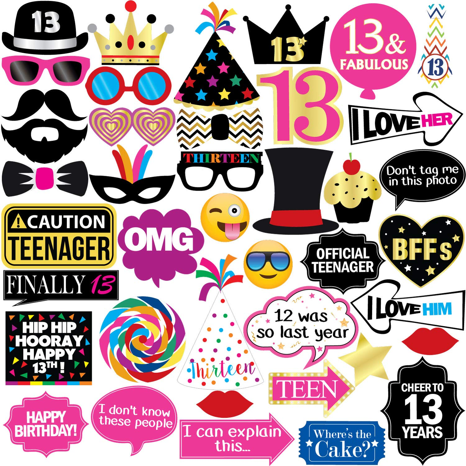 13th Birthday Photo Booth Party Props - 40 Pieces - Funny Official Teenager Birthday Party Supplies, Decorations and Favors