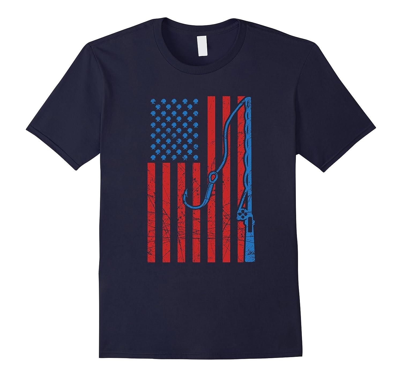 American flag fishing shirt Patriotic USA Fisherman Rod Gift-PL