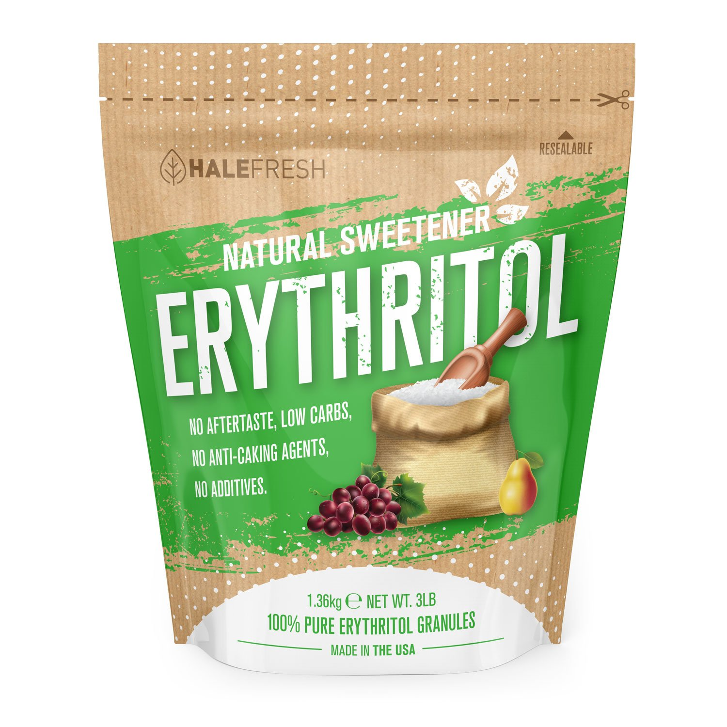 Erythritol Sweetener Natural Sugar Substitute 3lb - Granulated Low Calorie Sweetener High Digestive Tolerance Suitable for Diabetes Keto and Paleo - Perfect Baking Substitute Non GMO