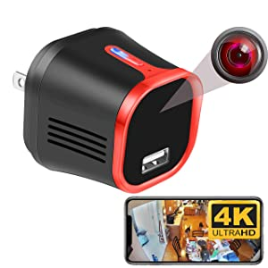 MCSTREE 4K Wireless Security Hidden Camera, USB Charger Indoor Spy Camera