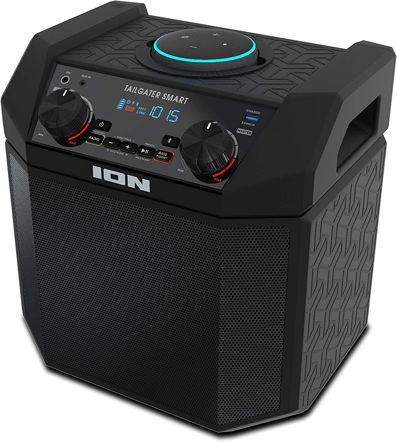 ION 8W Outdoor Echo Dot Speaker Dock/Portable Alexa Accessory With  Bluetooth Connectivity and 8 Hour Rechargeable Battery-Tailgater Smart