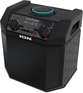 ION 50W Outdoor Echo Dot Speaker Dock/Portable Alexa Accessory with Bluetooth Connectivity and 50 Hour Rechargeable Battery, Tailgater Smart