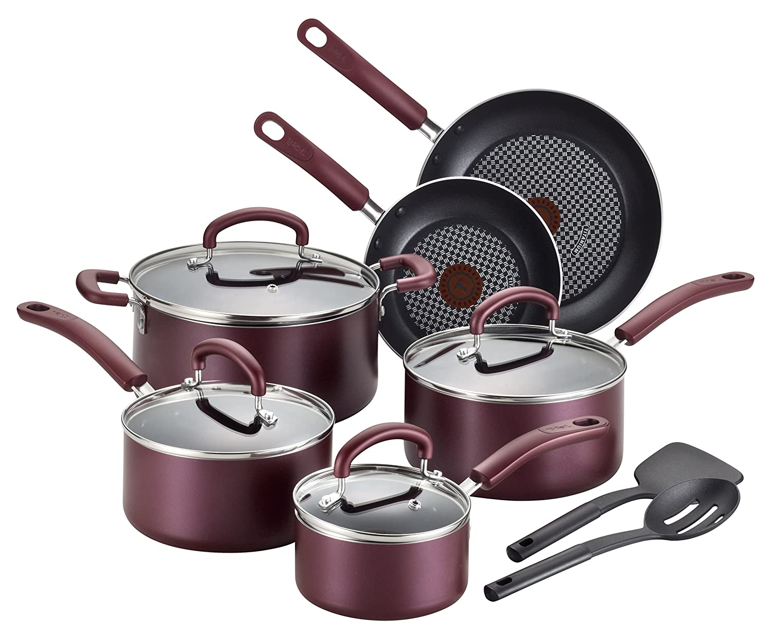T-fal B130SC Color Luxe Hard Titanium Nonstick Thermo-Spot Dishwasher Safe PFOA Free Cookware Set, 12-Piece, Red 2100094331