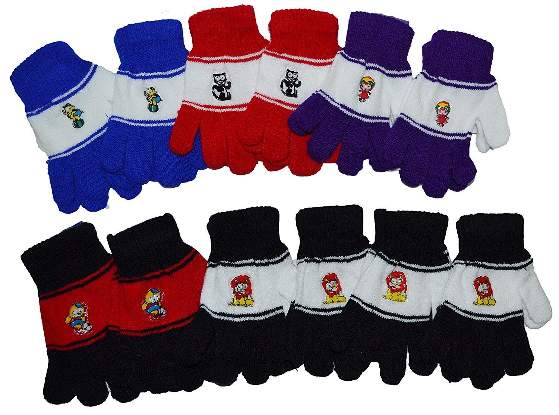 OPT Brand. 12 Pairs Wholesale Kids Children Knit Magic Cartoon Gloves. USA Trademark Registered Code: 86522969. From New York.