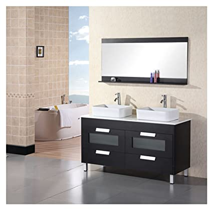 Design Element Francesca (double) 56 Inch Black Modern Bathroom Vanity Set