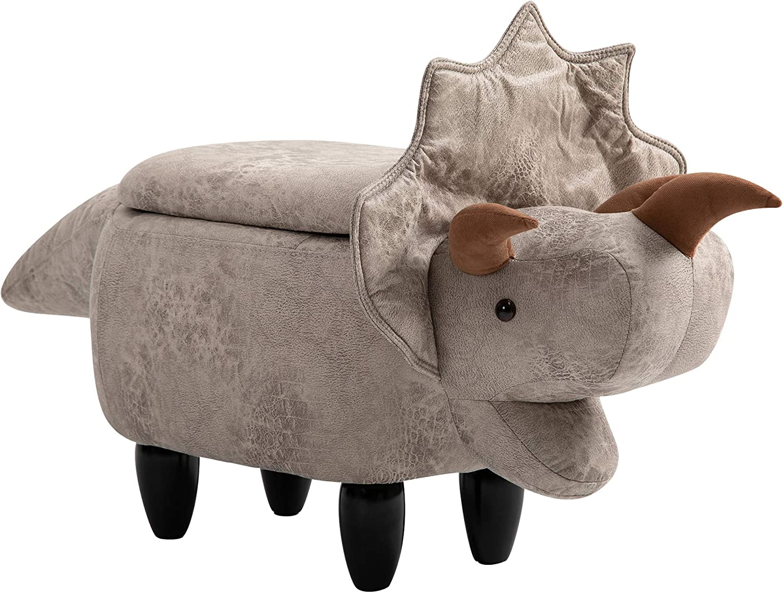 HOMCOM Upholstered Animal Storage Ottoman Footrest Stool with Vivid Adorable Dinosaur