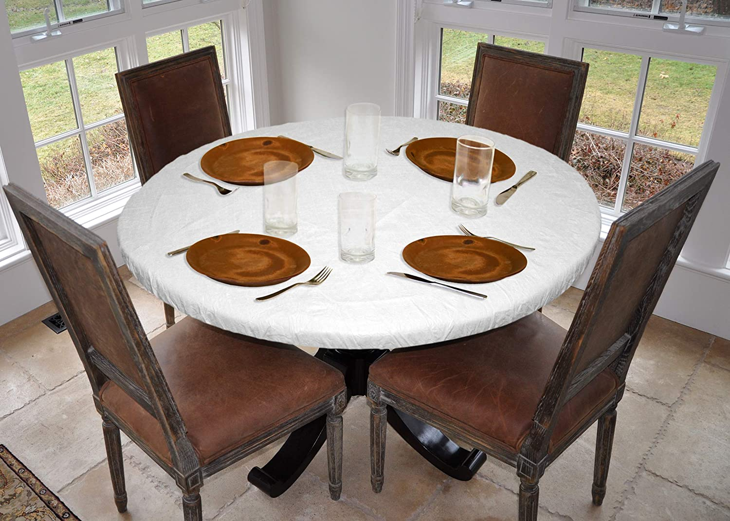 Amazon Com Laminet Deluxe Cushioned Heavy Duty Elastic Edged Quilted Table Pad Small Round Fits Tables Up To 44 Diameter The Ultimate Protection For Your Table Kitchen Dining