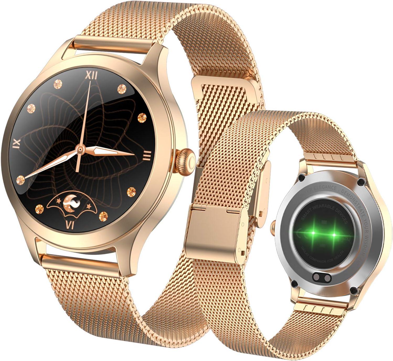 Simshew Fitness-Tracker Smael Bluetooth Pedometer Stoppuhr 50m wasserdichte Smartwatch Herzfrequenz und Schlaf/überwachung Color : Black Rose Gold