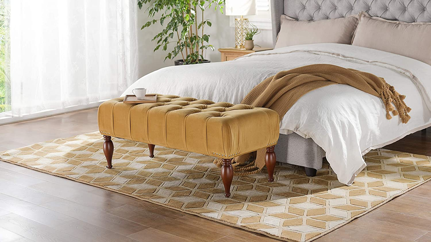 Jennifer Taylor Home, Entryway Bench, Gold, Hand Tufted, Hand Painted and Hand Rub Finished Legs