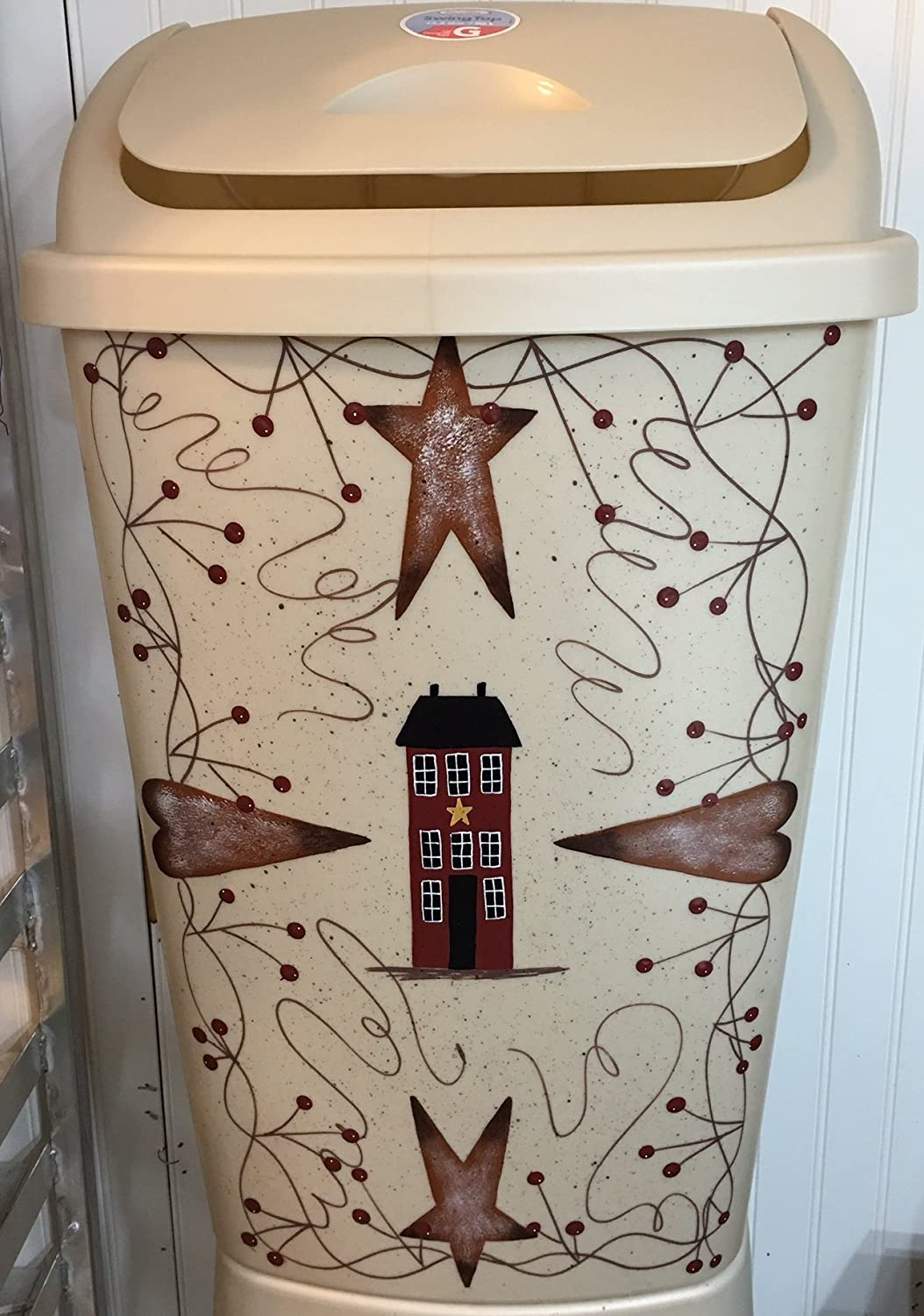 Primitive Country Decor Hand Painted Rusty Tin Stars, Saltbox House Kitchen Trash Waste Can 13 Gallon Made in USA