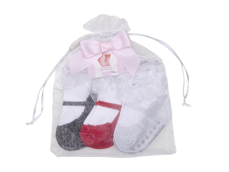 Baby Emporio-Baby Girl Socks-Shoe Look-Anti Slip Soles-Cotton-Keepsake Box,Sneaker,0-9 months