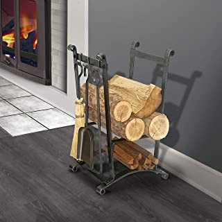 product image for Enclume Handcrafted Compact Curved Fireplace Log Rack w Tools Hammered Steel