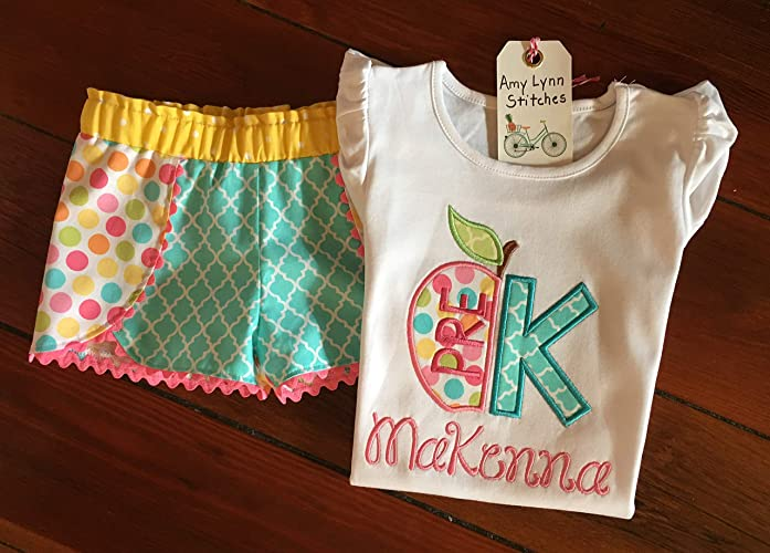 Back to School First Day of Pre-K of T-Shirt Ships in min 1-2 weeks Contact us first is needed by Sep 4 Hello Pre-K Outfit Add Name