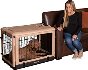 "Pet Gear ""The Other Door"" 4 Door Steel Crate with Plush Bed + Travel Bag for Cats/Dogs"