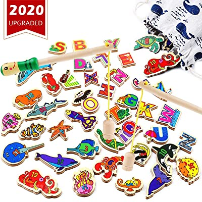 CozyBomB Wooden Fishing Game for Kids - Magnetic Alphabet Number Fish Magnet Catching Counting Board Games Toys for 2 3 4 Year Old Girl Boy Toddlers Birthday Toy Learning Education Math with Poles: Toys & Games