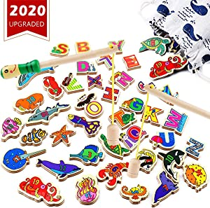 CozyBomB Wooden Fishing Game for Kids - Magnetic Alphabet Number Fish Magnet Catching Counting Board Games Toys for 2 3 4 Year Old Girl Boy Toddlers Birthday Toy Learning Education Math with Poles