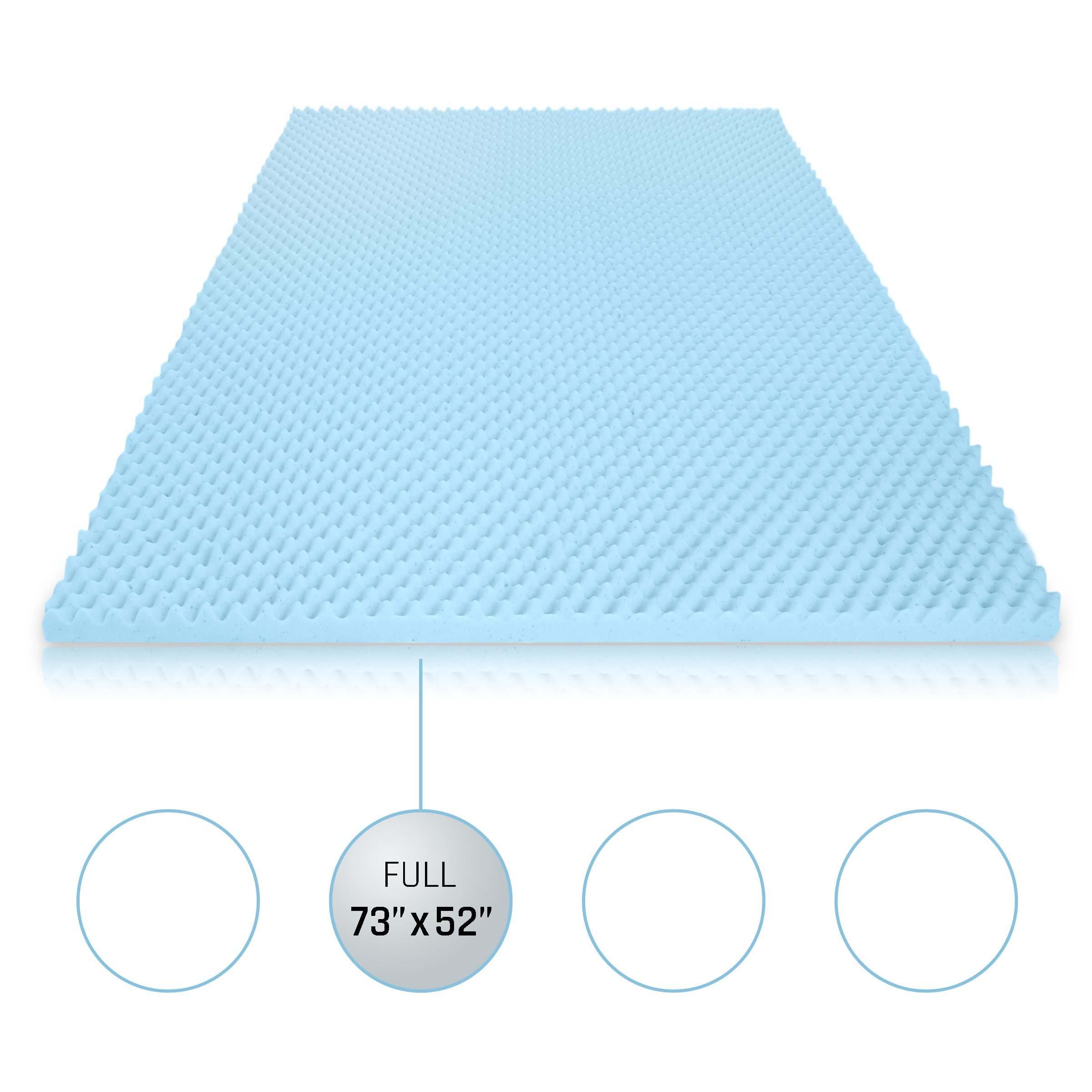 Milliard 2in. Egg Crate Gel Memory Foam Mattress Topper - Full, Mattress Pad Provides Great Pressure Relief, Gel Infusion Contributes to a Cooler Night Sleep (Full)
