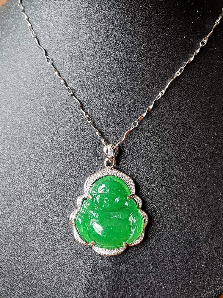 Natural Jade Jadeite Buddha Pendant 925 Silver Necklace