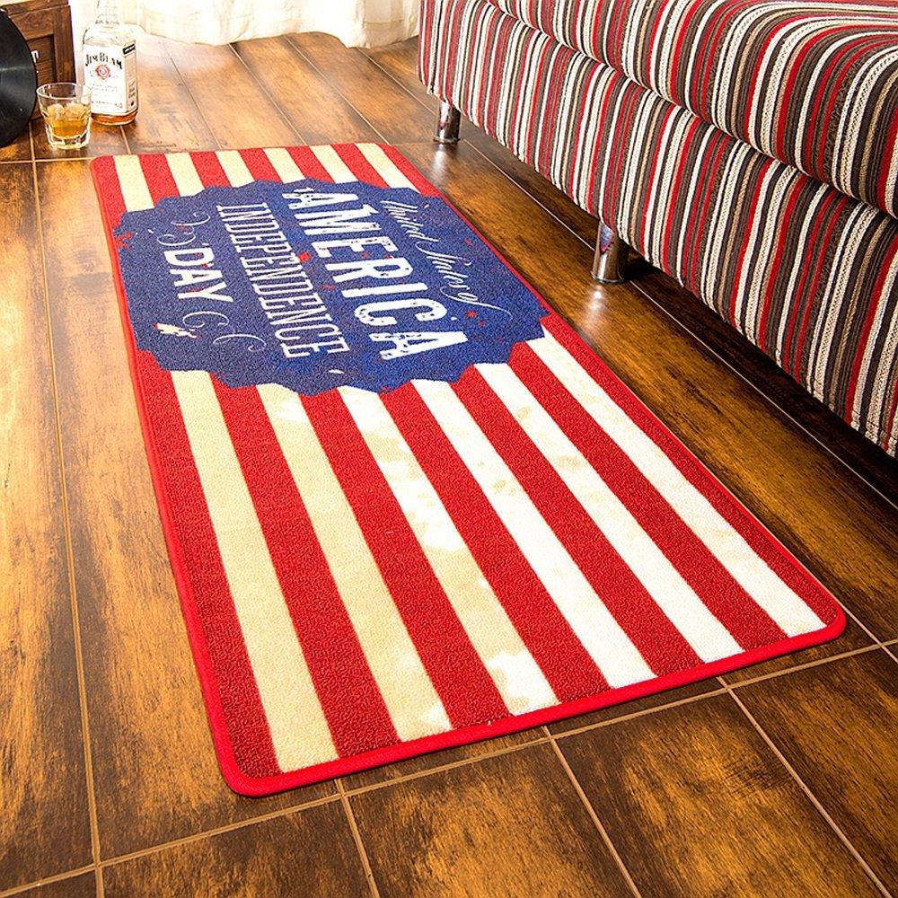 アメリカンレトロインダストリアルスタイル長方形の敷物、ベッドルームリビングルームソファコーヒーテーブルキッチンノンスリップフロアマット、洗えるカーペット(50 * 120cm)   B078YRSD92
