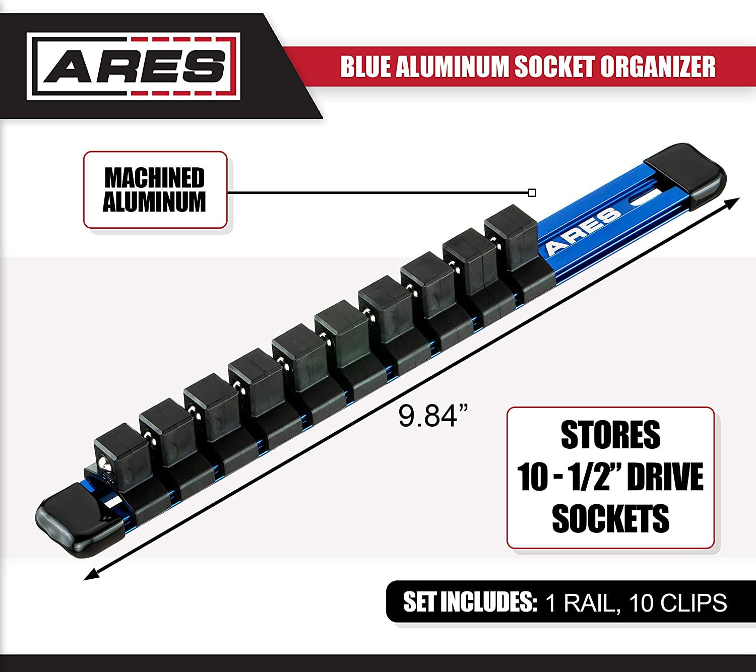 ARES 70344-1/2-Inch Drive 9.84-Inch Aluminum Socket Rail - Store up to 10 Sockets and Keep Your Tool Box Organized - Sockets Will Not Fall Off this Rail