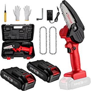 Mini Chainsaw with 2 Battery ,4 Inch Cordless Portable Handheld Small Electric Chainsaw with Replacement Chain for Branch Wood Cutting Garden Tree Logging Trimming