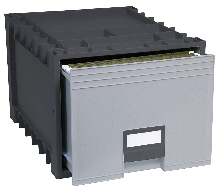 Storex Archive Storage Box for Letter Size Hanging Files, 18-Inch Depth, Black/Grey (61179U01C)