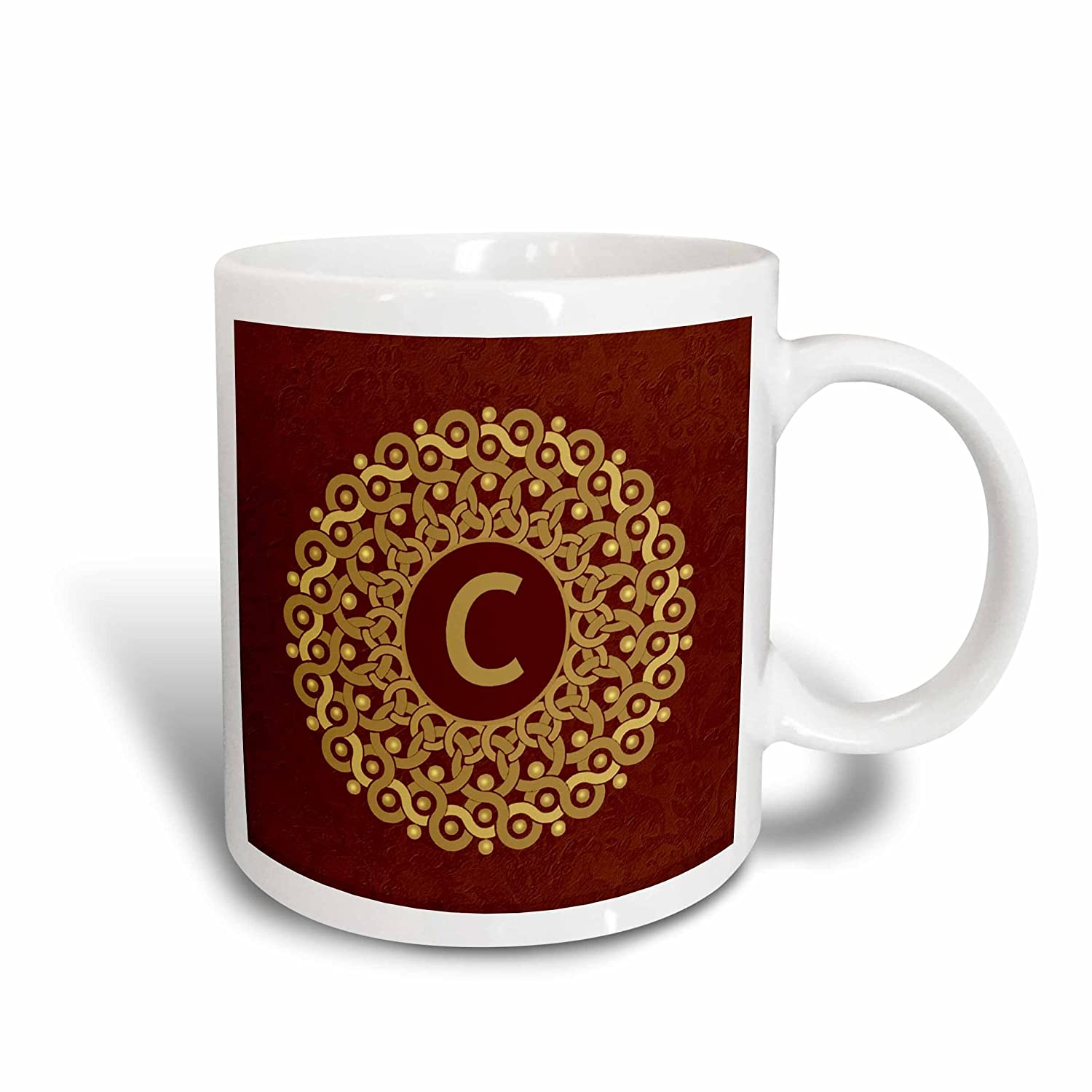 3dRose 32191/_2Monogram C tan and coffee mandala on warm chocolate muted grunge damask Ceramic Mug 15 oz Multicolor