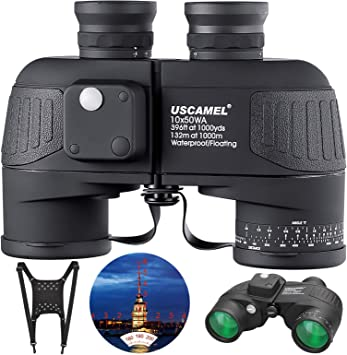10x50 Marine Binoculars with Compass for Adults - IPX7 Waterproof BAK4 Prism FMC Lens Binoculars with Rangefinder and Shoulder Harness Strap for Navigation Hunting Bird Watching