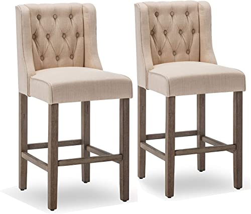 BELLEZE Button Tufted Wingback Fabric Upholstered Counter Stools Height Barstool Dining Chair Set of 2