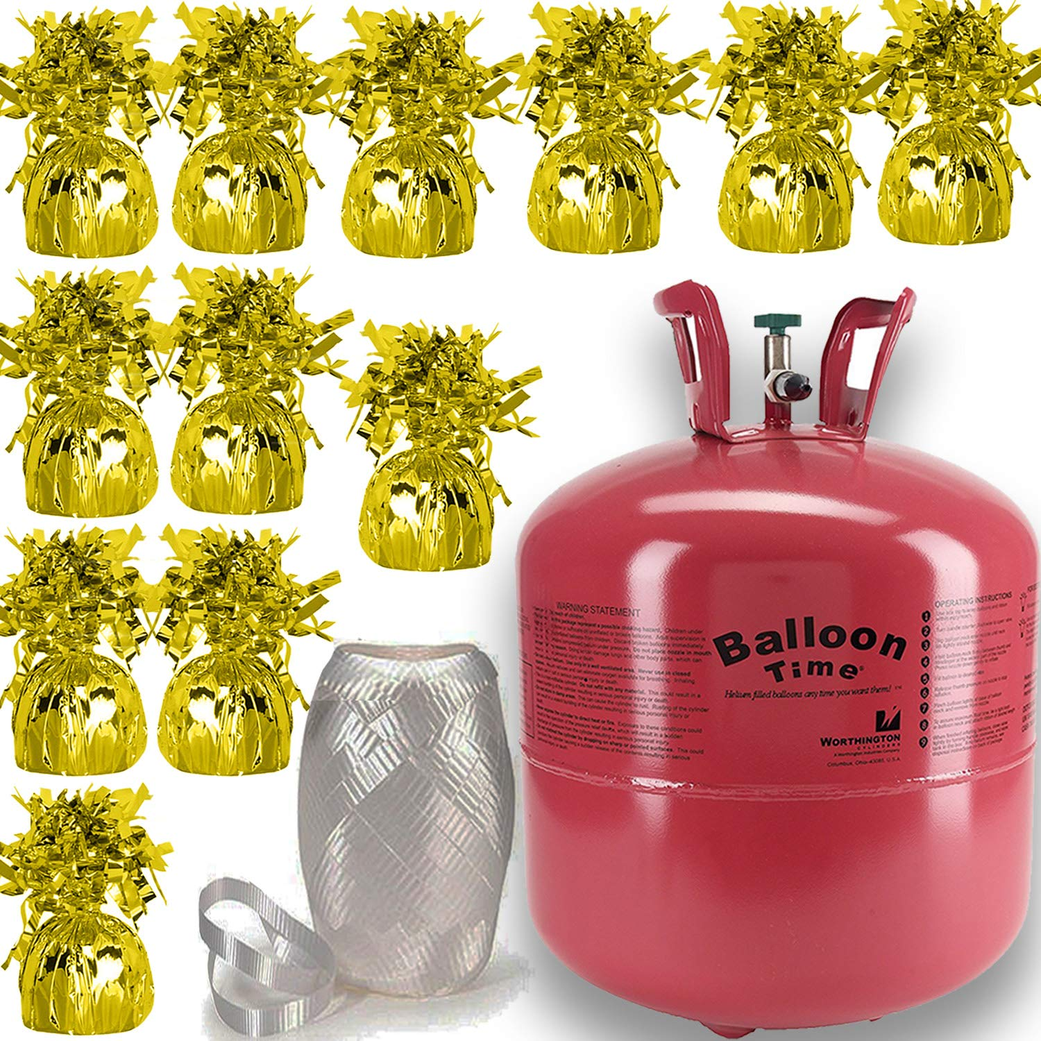 Helium Tank + 12 Balloon Weights, Gold, 5.5'', 5.7 oz + White Curling Ribbon |14.9 Cubic Feet Helium, Enough for 50 9'' Balloons