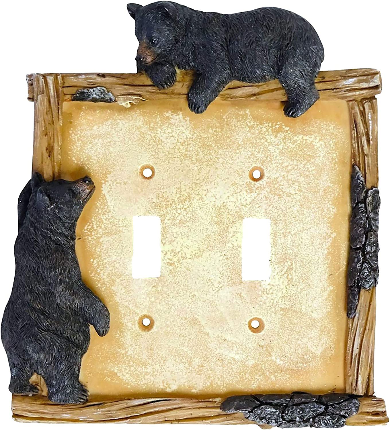 Black Bear on Log Double Switch Cover Cabin Lodge Style Home Décor