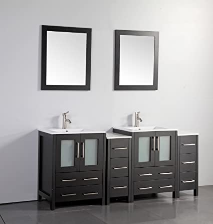 Vanity Art 72 Inch Double Sink Bathroom Vanity Set With Ceramic Top