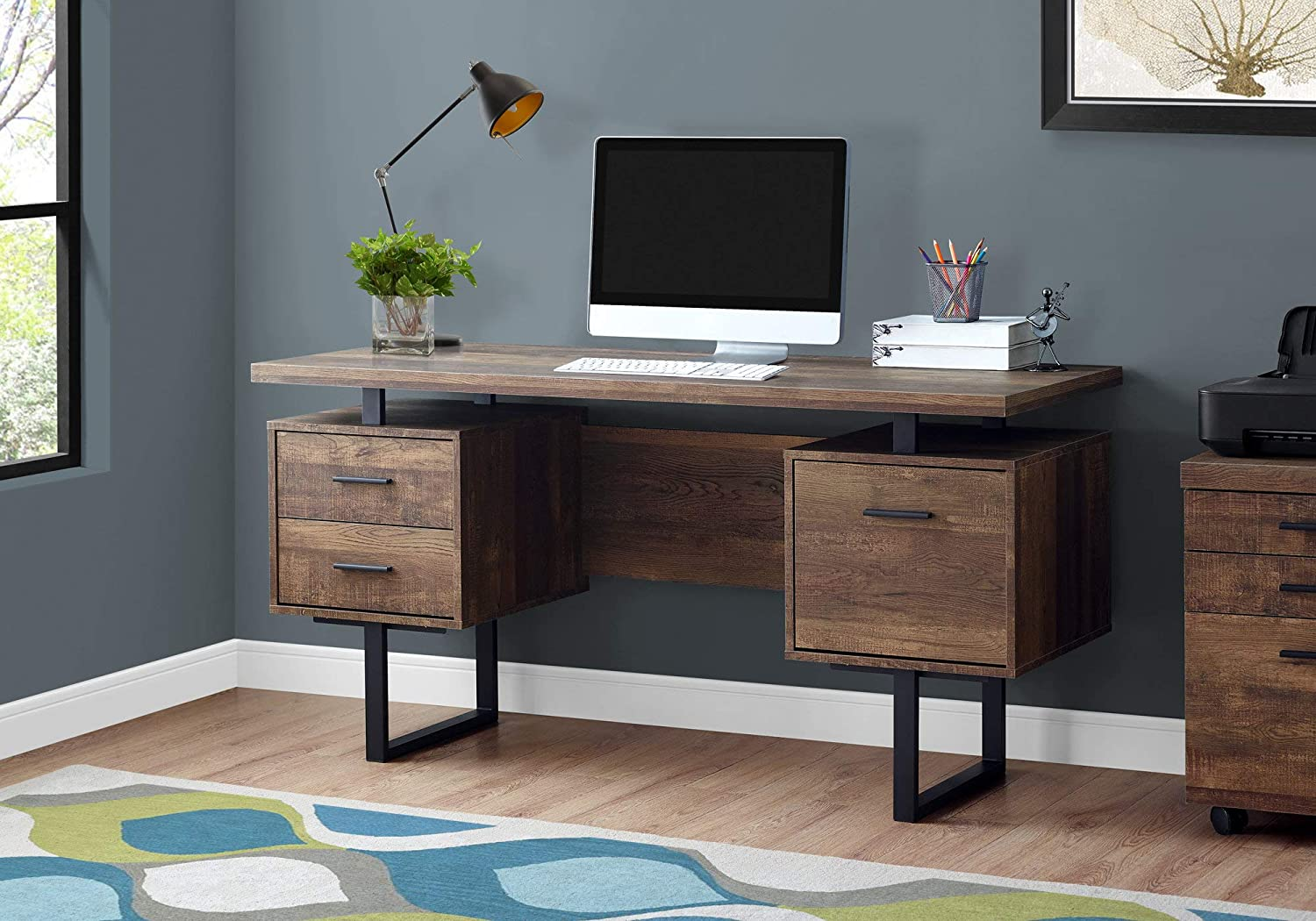 "Monarch Specialties Computer Desk with Drawers - Contemporary Style - Home & Office Computer Desk with Metal Legs - 60"" L (Brown Reclaimed Wood Look)"
