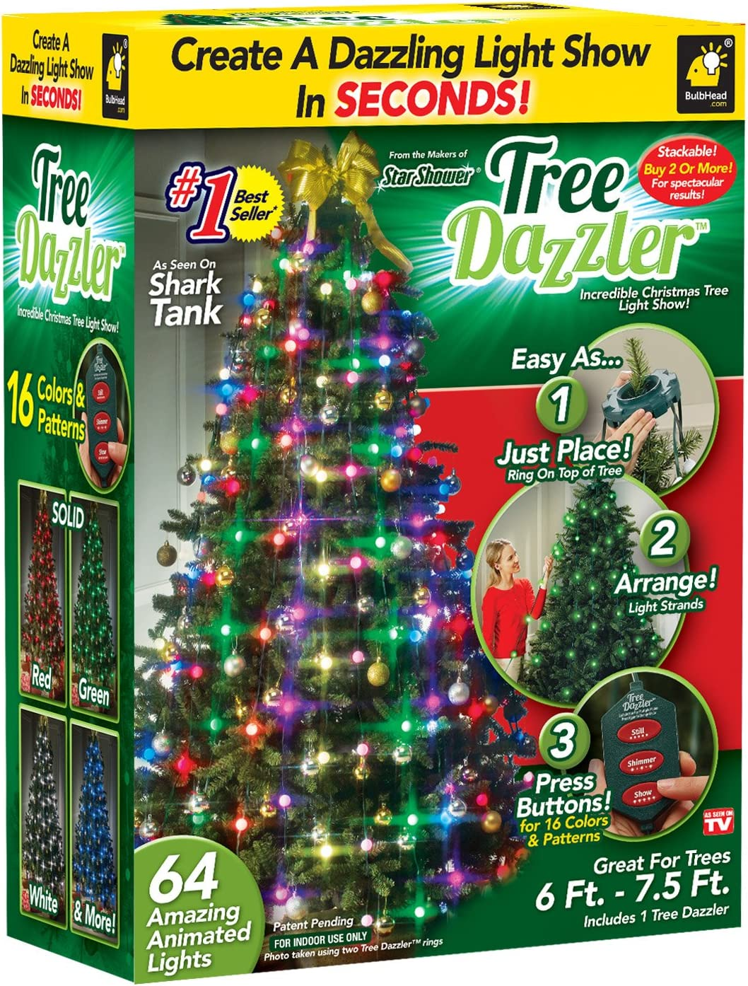 Star Shower Tree Dazzler Led Light Show By Bulbhead 16 Light Patterns Amazon Com